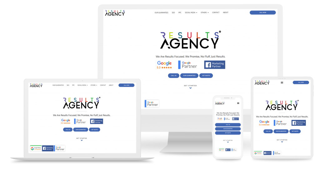 Web Design sample of results agency website on different device view
