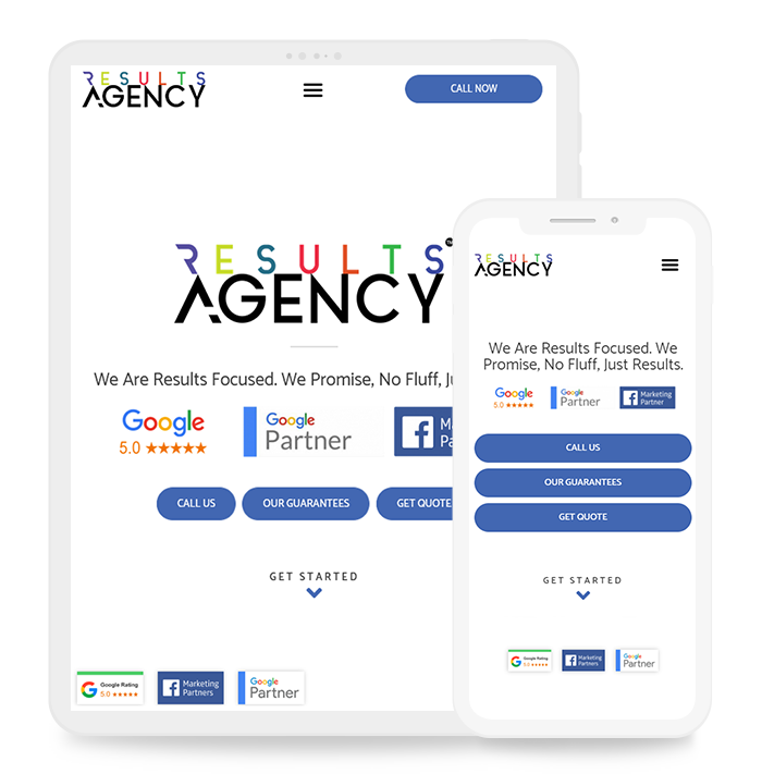 Results agency website on different device view