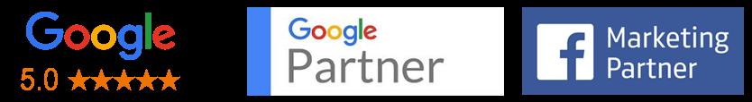 Digital marketing partner badge from Google and Facebook